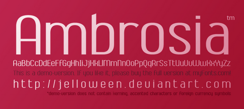 Font  AMBROSIA   demo by jelloween Best of Fresh, Clean, High Quality and Free Fonts   Summer 2010!