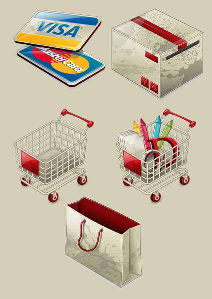 e commerce visa cart bag The Best High Quality Ecommerce Icons of the Web
