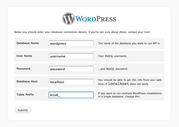 db config wordpress How to install Wordpress, configure it and secure it